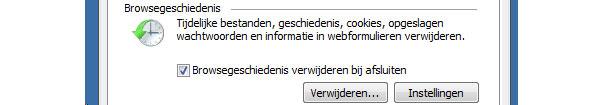 Browser geschiedenis automatisch verwijderen in Internet Explorer 8