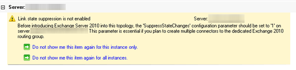 Exchange 2010 Pre-Deployment Analyzer melding: Link State suppression is not enabled
