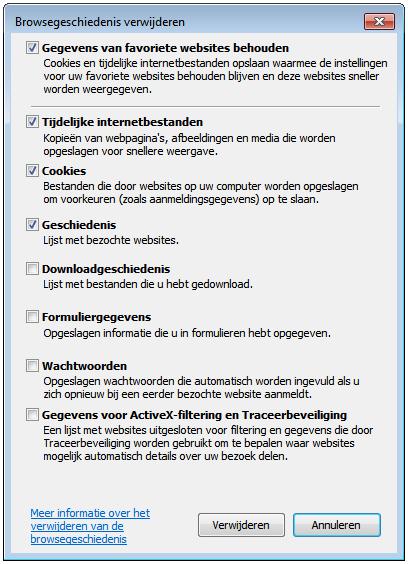 Internet Explorer 9 - Browsergeschiedenis verwijderen