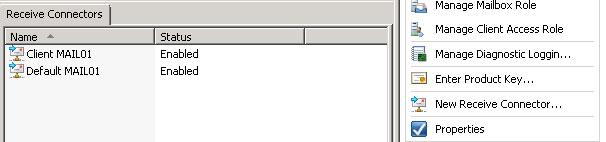 Overzicht Default Receive Connectors in Exchange 2010