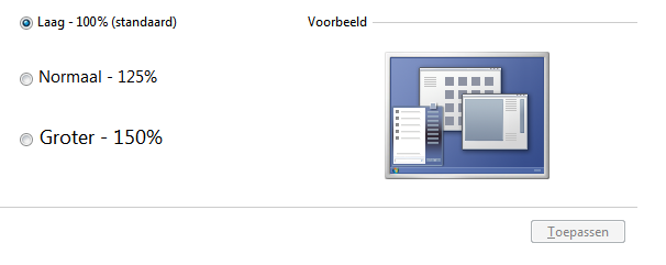 Tekstgrootte aanpassen in Windows 7